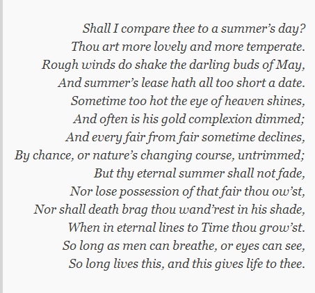 "Shakespeare's ""Shall I compare thee to a summer's day? (Sonnet 18)"""