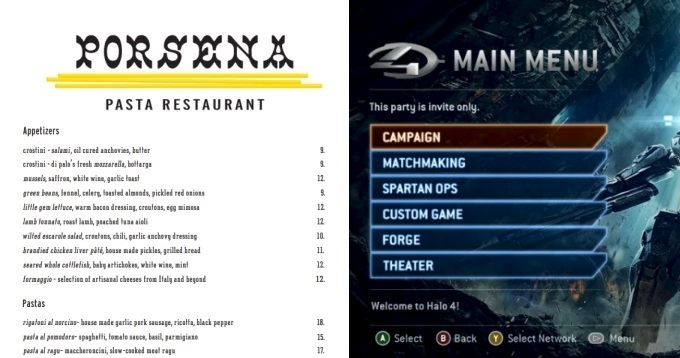 Game and Restaurant Menu Comparison