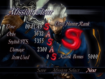 Devil May Cry 3 Results Screen