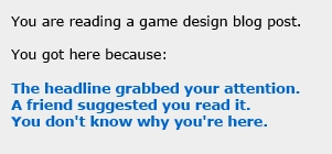 You Are Reading a Game Design Blog Post