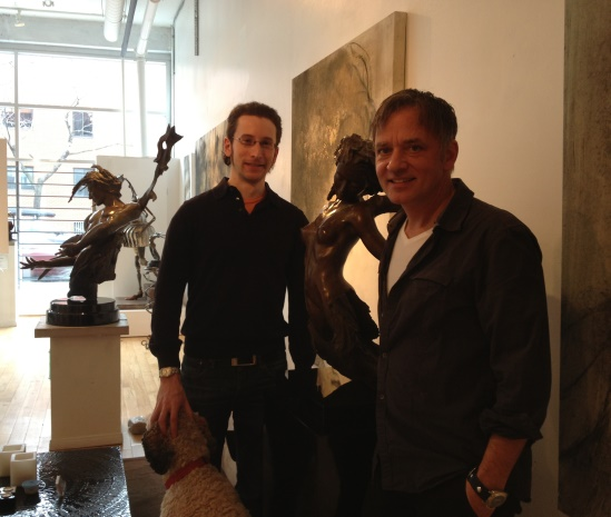 The author (left) with André Desjardins, and his sculpture Devenir.